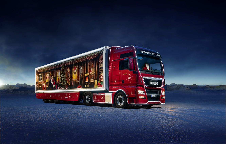 Photo wallpaper new year, winter, MAN Truck & Bus