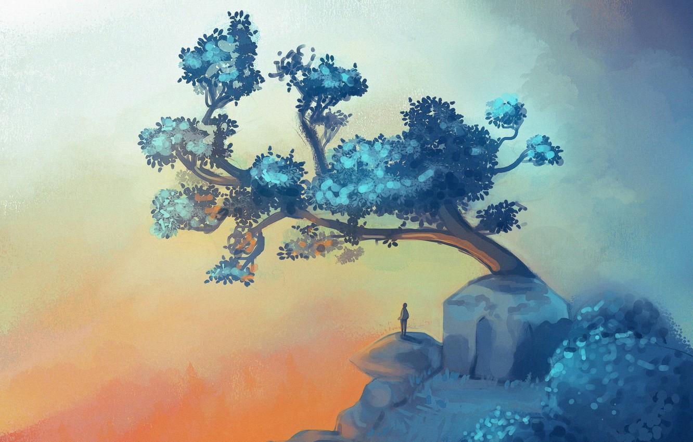 Photo wallpaper Tree, Figure, People, Fantasy, Art, Art, Tree, Environments, Peak and the tree, Unda Tiltina, by …