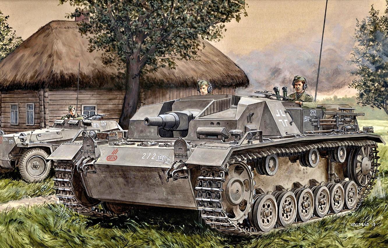 Photo wallpaper The Wehrmacht, StuG III, half-track armored personnel carrier, SdKfz 250, Assault gun