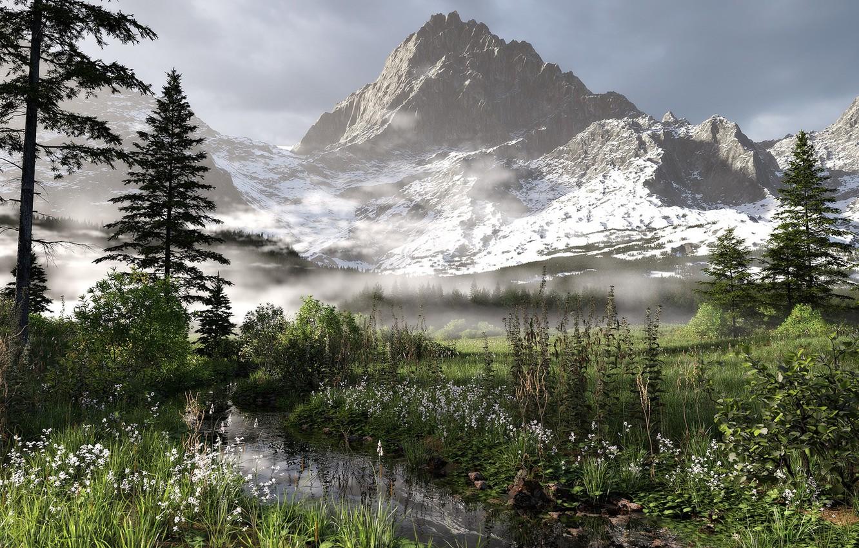 Photo wallpaper mountains, stream, vegetation, valley, Alpine landscape
