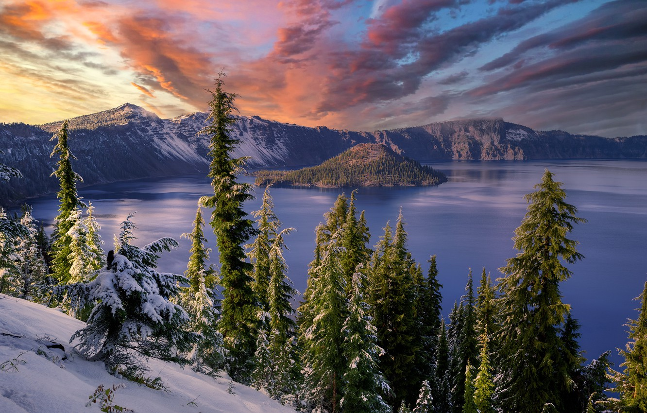 Photo wallpaper Oregon, sunset, snow, Crater Lake, volcanic