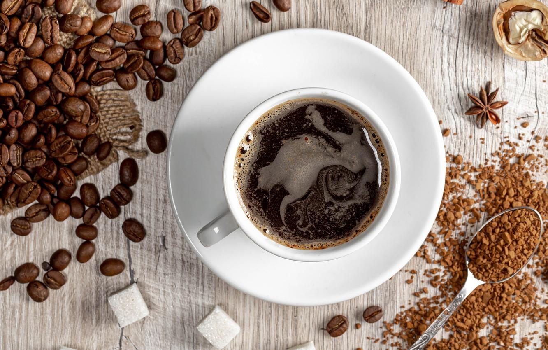 Photo wallpaper coffee, spoon, mug, Cup, sugar, coffee beans