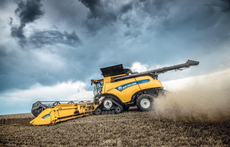 Photo wallpaper Dust, Wheel, Wheat, 2018, Grain, Harvester, Track, New Holland, Psenica, New Holland CR10.90 Revelatio