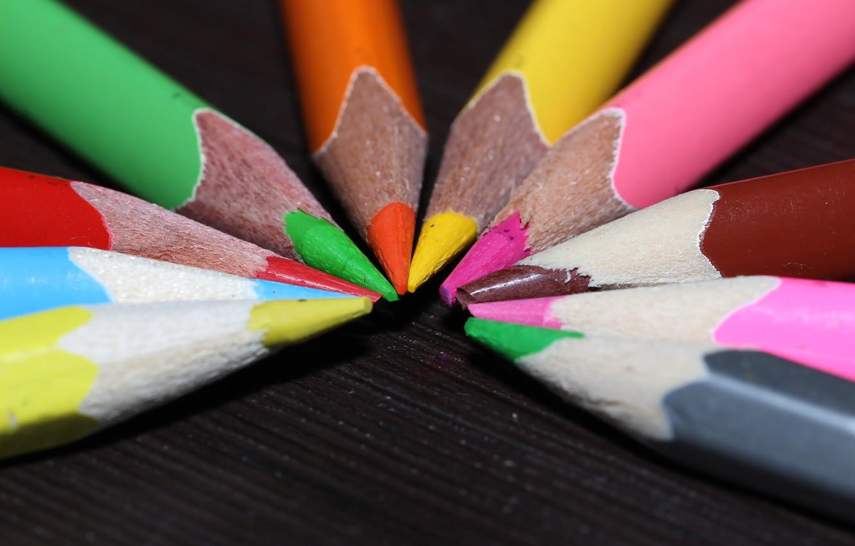 Photo wallpaper macro, table, colored, pencils