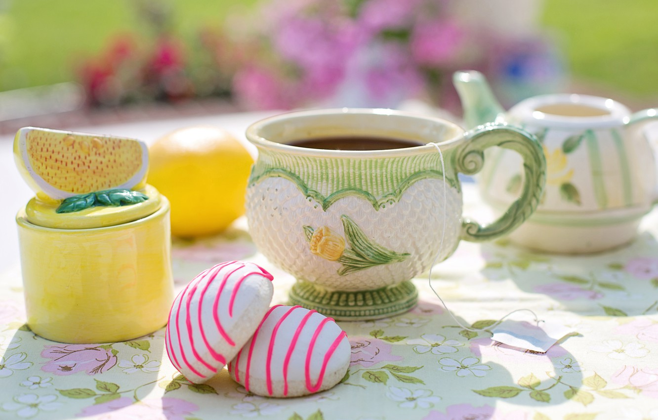 Photo wallpaper summer, light, flowers, comfort, table, lemon, tea, food, kettle, the tea party, mug, Cup, sweets, …