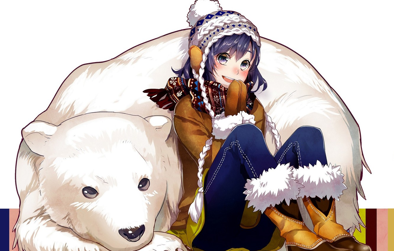 Photo wallpaper smile, jeans, boots, scarf, girl, polar bear, friends, mittens, pigtail, purple hair, white fur, knitted …