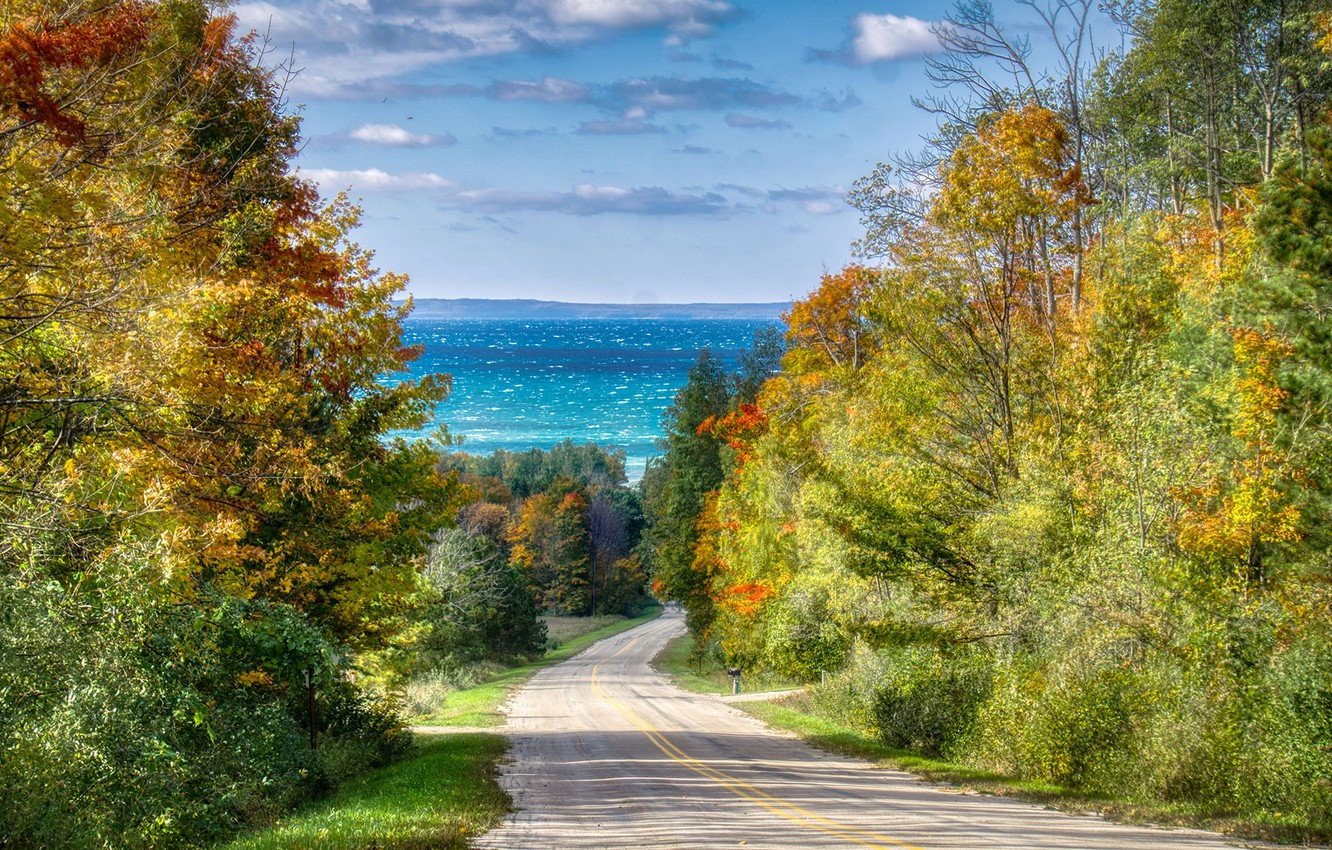 Photo wallpaper road, sea, autumn, trees