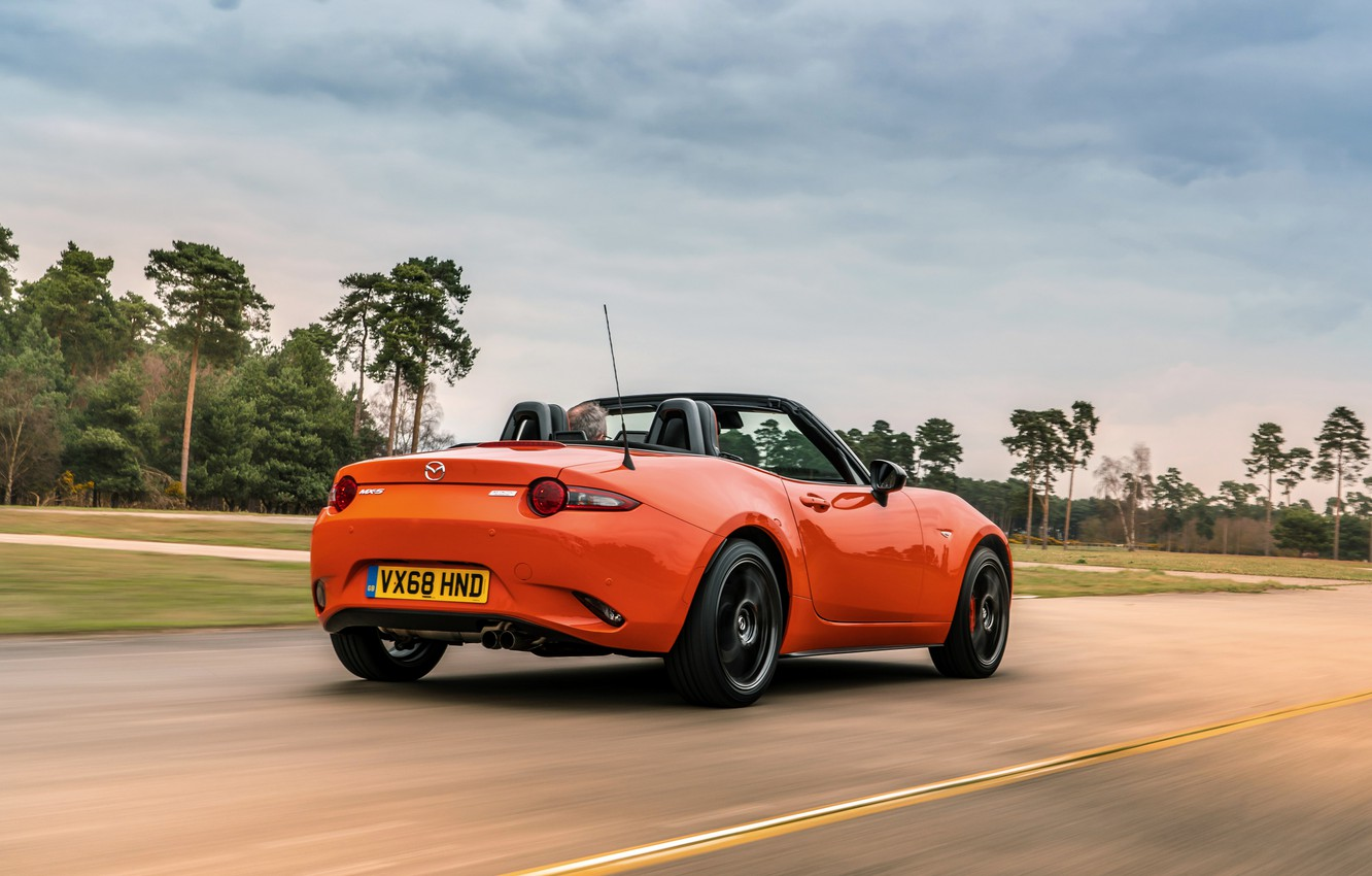 Photo wallpaper road, the sky, orange, Mazda, Roadster, MX-5, 30th Anniversary Edition, 2019