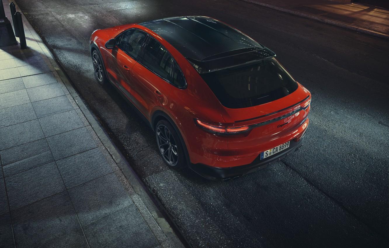 Photo wallpaper Porsche, Orange, Coupe, Cut, Cayenne Turbo, Shade, Orangeguy