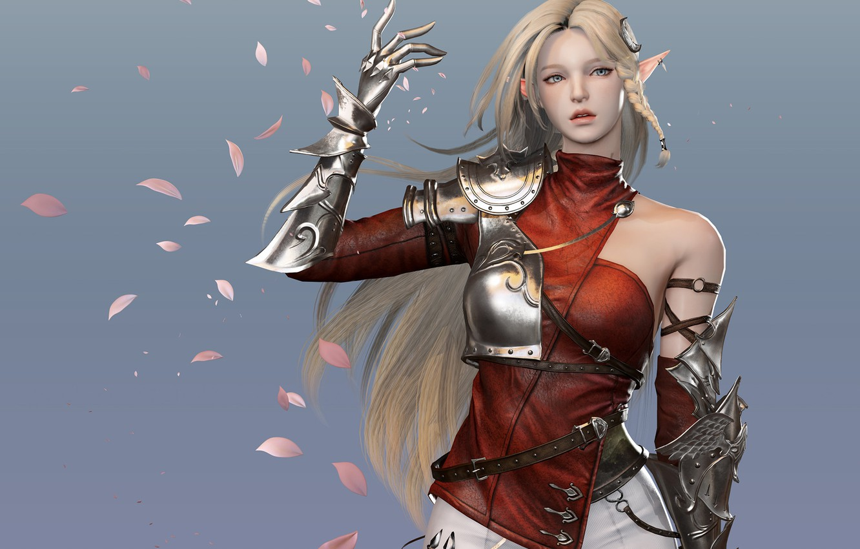 Photo wallpaper armor, petals, blonde, elf, grey background, long hair, art, straps, iron hand, pauldron, Jihyun Heo