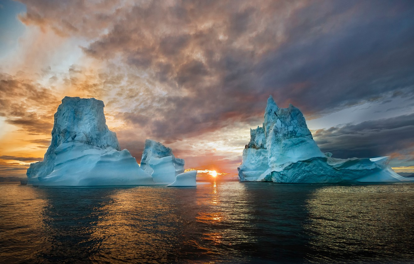 Photo wallpaper cold, ice, sea, the sky, water, the sun, clouds, light, sunset, glare, blue, tops, ice, …