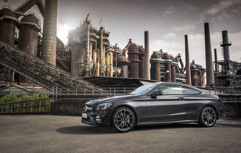 Photo wallpaper coupe, Mercedes - Benz, 2018, Mercedes-Benz, Mercedes-AMG C 43 4MATIC Coupé, graphite grey metallic