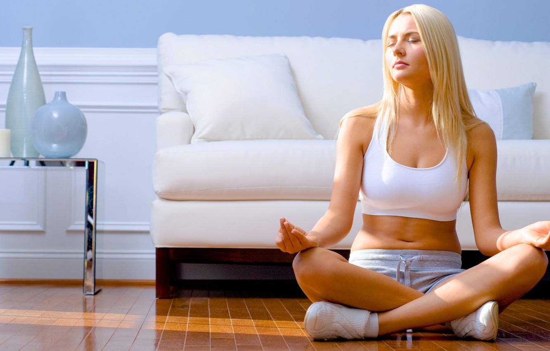 Photo wallpaper sitting, yoga, blonde girl