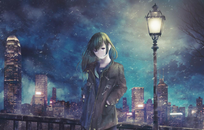 Photo wallpaper girl, night, street, lantern