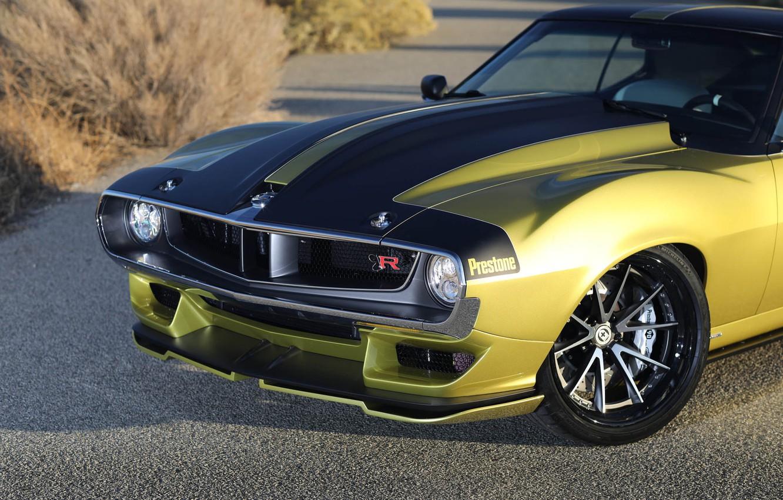 Photo wallpaper Disk, Wheel, The hood, Lights, Muscle car, 1972, Classic car, Icon, Sports car, AMC, HRE …