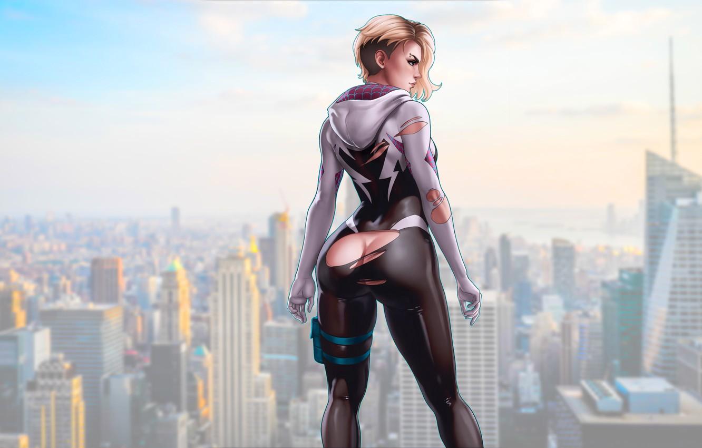Photo wallpaper girl, ass, girls, marvel, comics, blonde, comic, gwen stacy, spider gwen, superheroines