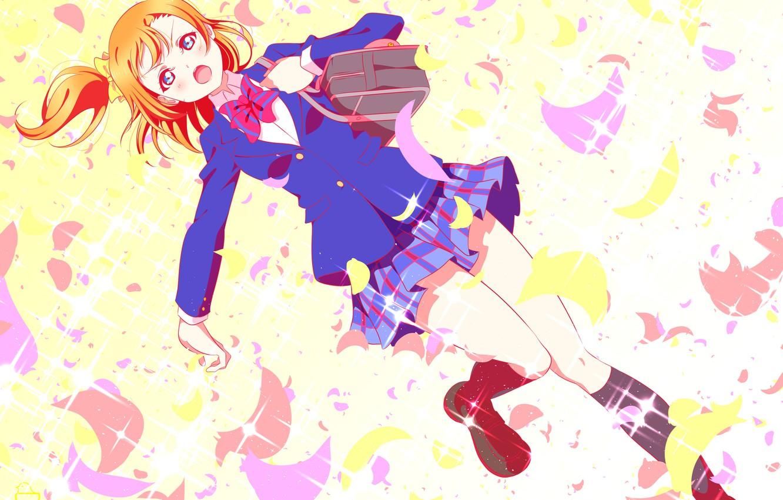 Photo wallpaper girl, form, schoolgirl, bag, Love Live School Idol Project, Living love