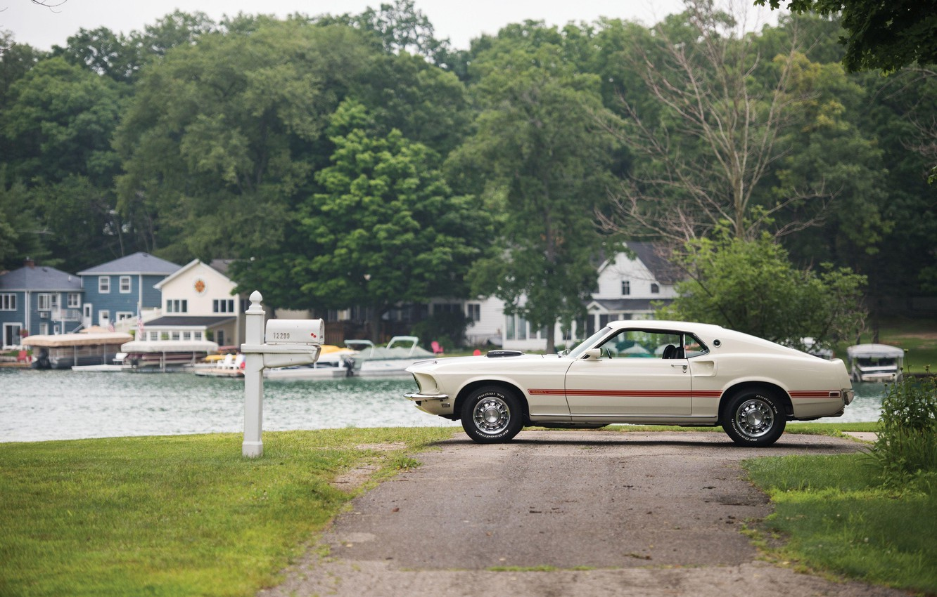 Photo wallpaper Road, Pier, Grass, 1969, Ford Mustang, Muscle car, 428 Cobra Jet, Mach I