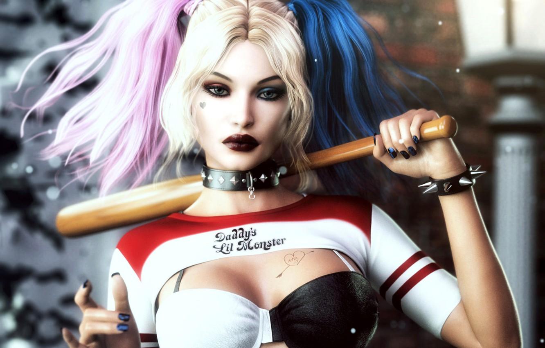 Photo wallpaper look, rendering, art, bit, Harley Quinn