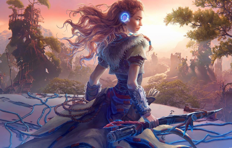 Photo wallpaper girl, fantasy, long hair, landscape, weapon, redhead, digital art, artwork, warrior, fantasy art, fantasy girl, …