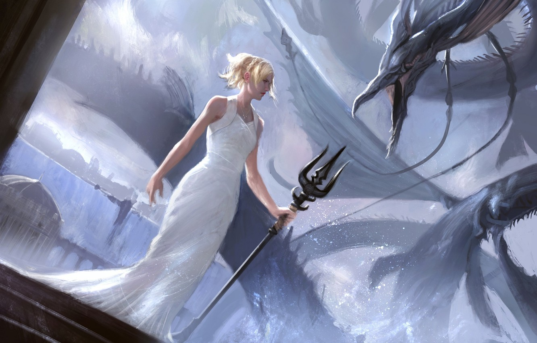 Wallpaper girl, dragon, Final Fantasy