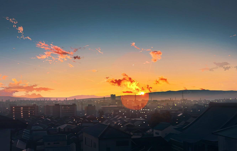 Photo wallpaper the sun, the city, skacat