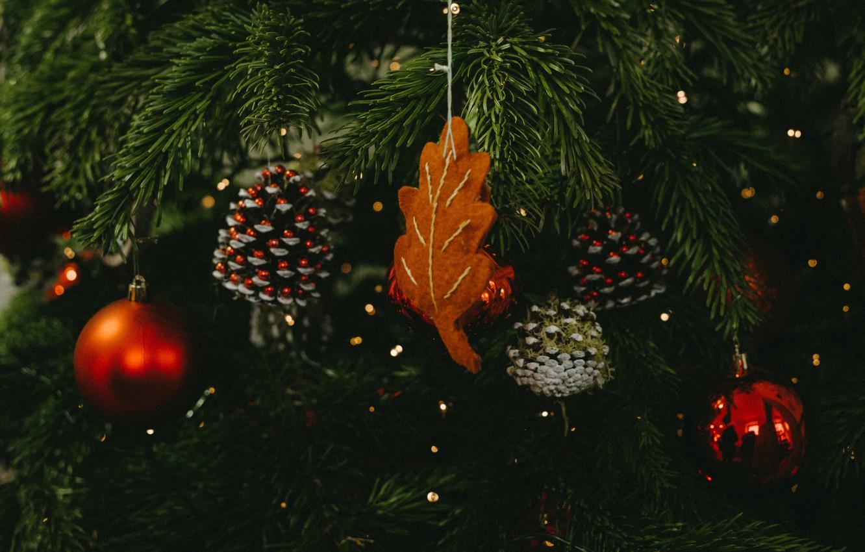Photo wallpaper decoration, holiday, balls, Christmas, New year, tree, bumps