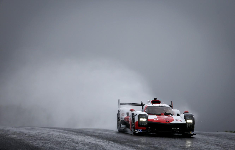 Photo wallpaper fog, Toyota, wet asphalt, dampness, WEC, 4WD, 2021, Gazoo Racing, GR010 Hybrid, 3.5 л., V6 …