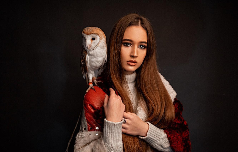 Photo wallpaper look, girl, face, owl, bird, hair, portrait, hands, makeup, the barn owl, the dark background, …