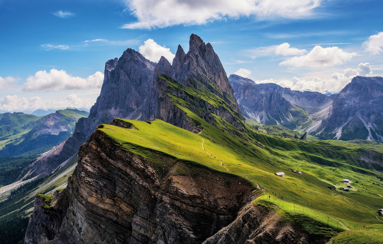 Photo wallpaper the sky, clouds, mountains, Alps, meadows