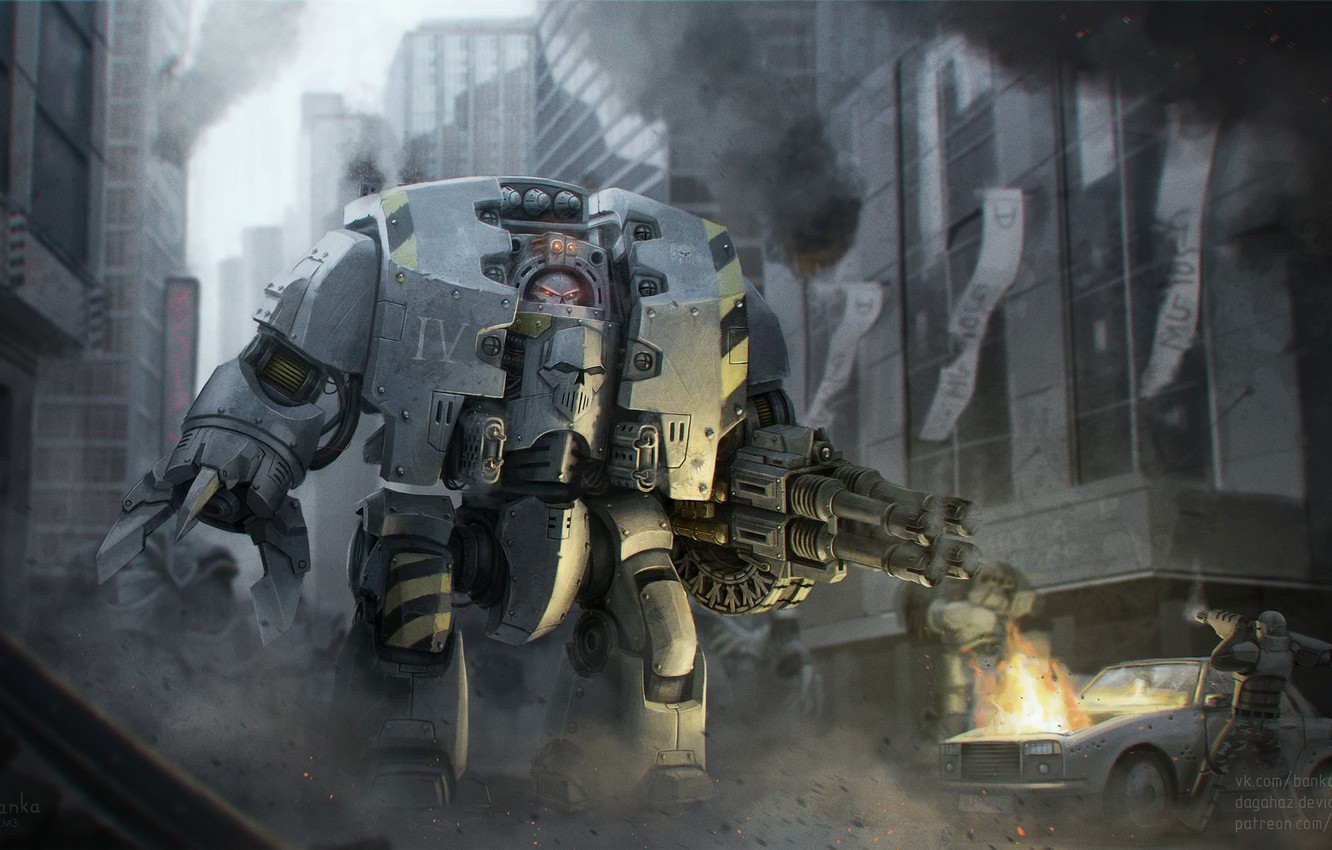 Photo wallpaper the city, robot, devastation, Warhammer 40K