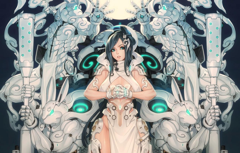 Photo wallpaper Girl, Fantasy, Gun, Sexy, Art, Robots, Machine, Minimalism, Cyborg, Characters, Rabbit, Bunny, Rabbits, Bunnies, Ren …