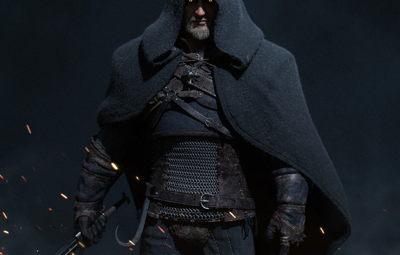 Photo wallpaper sparks, hood, the witcher, cloak, the Witcher, character, Geralt, Geralt of Rivia, cloak, sparks, Geralt …
