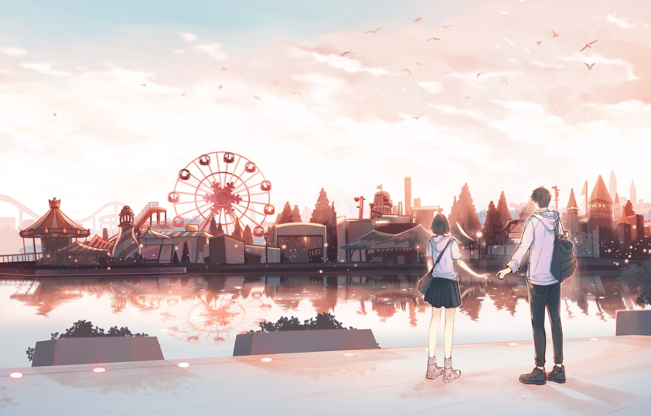 Wallpaper Girl Guy Amusement Park By Pinattsu Images For