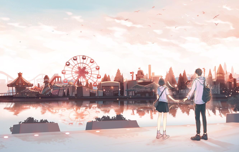 Photo wallpaper girl, guy, amusement Park, by pinattsu