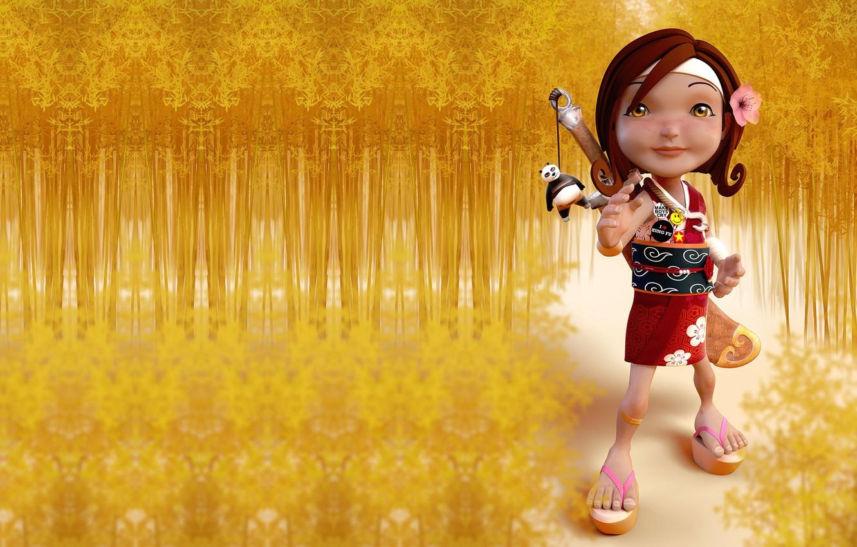 Photo wallpaper bamboo, art, Panda, keychain, baby, children's, Luis Arizaga Rico, I love Kung Fu