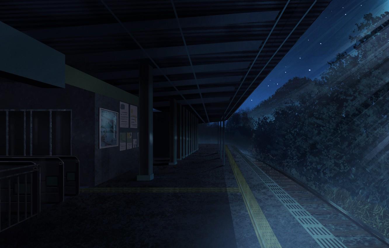 Photo wallpaper trees, night, station