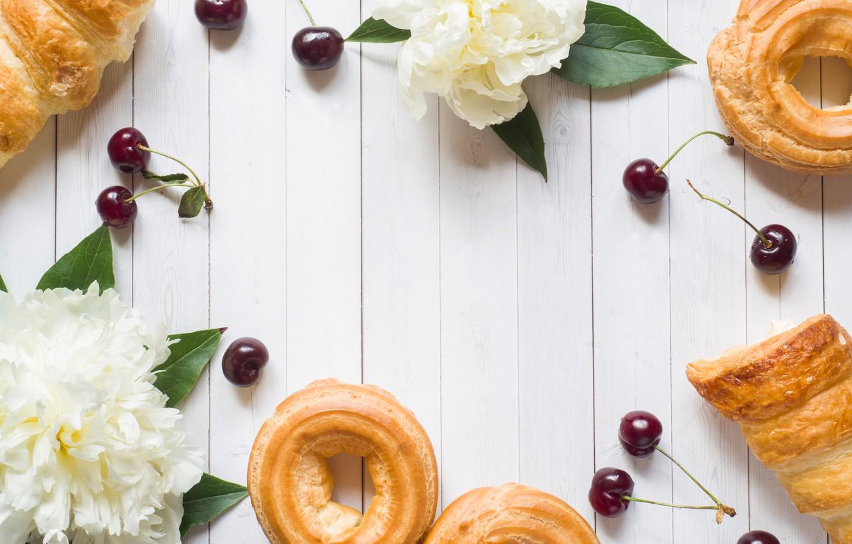 Photo wallpaper flowers, berries, white, cherry, cakes, cakes, peonies, cherry, cakes, peonies