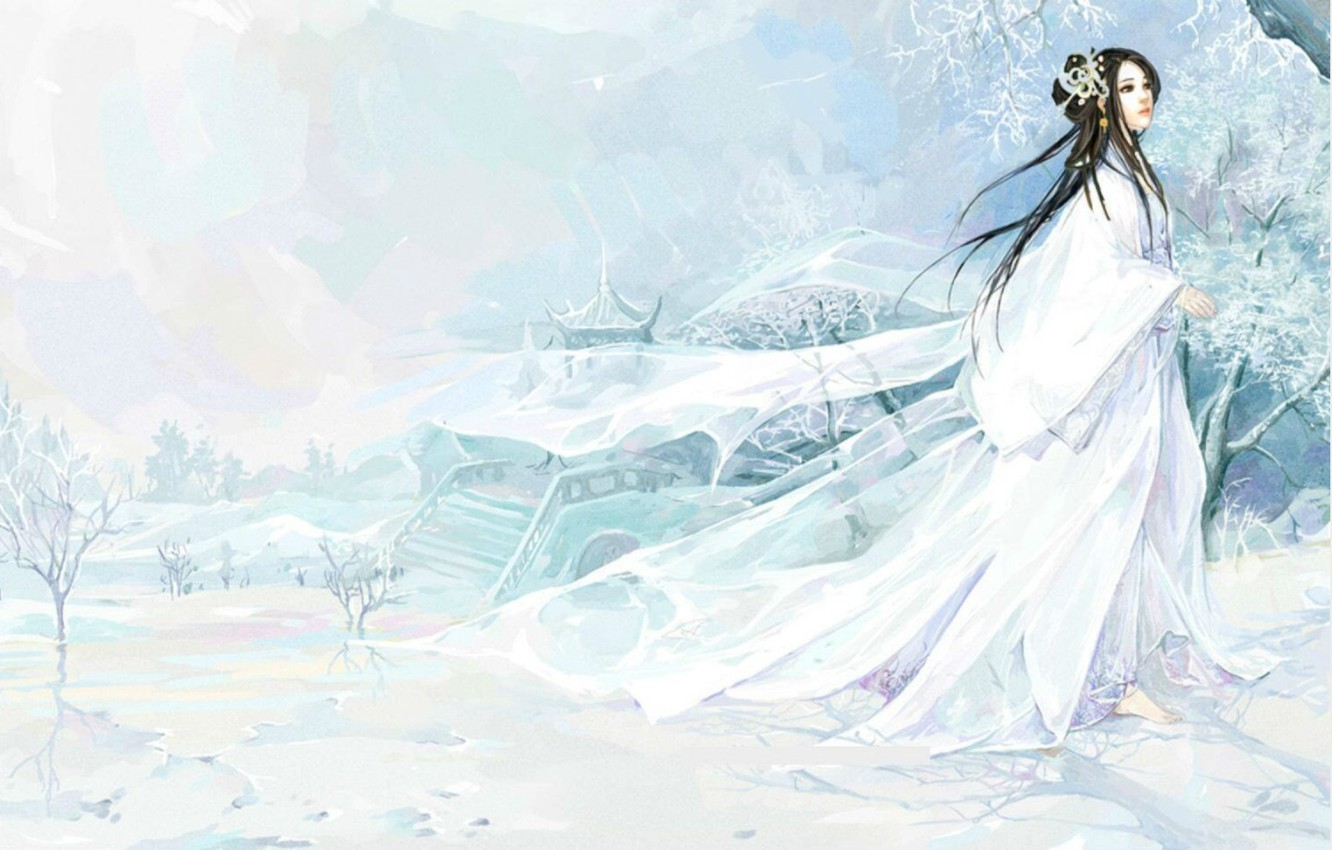 Photo wallpaper frost, snow, ladder, priestess, gazebo, winter landscape, barefoot, transparent fabric, white clothes, Yuki-Onna