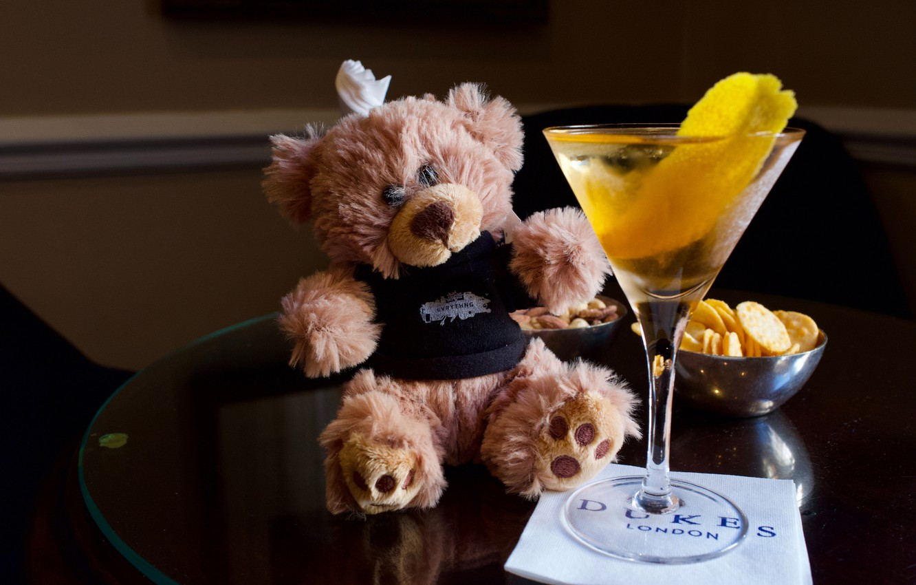 Photo wallpaper table, toy, glass, bear, bear, cocktail, drink, Teddy