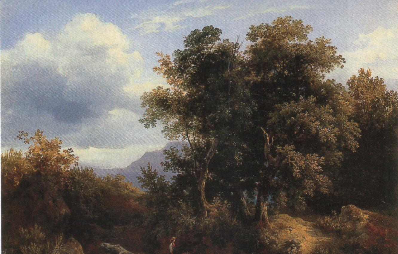 Photo wallpaper clouds, trees, children, BRACASSAT