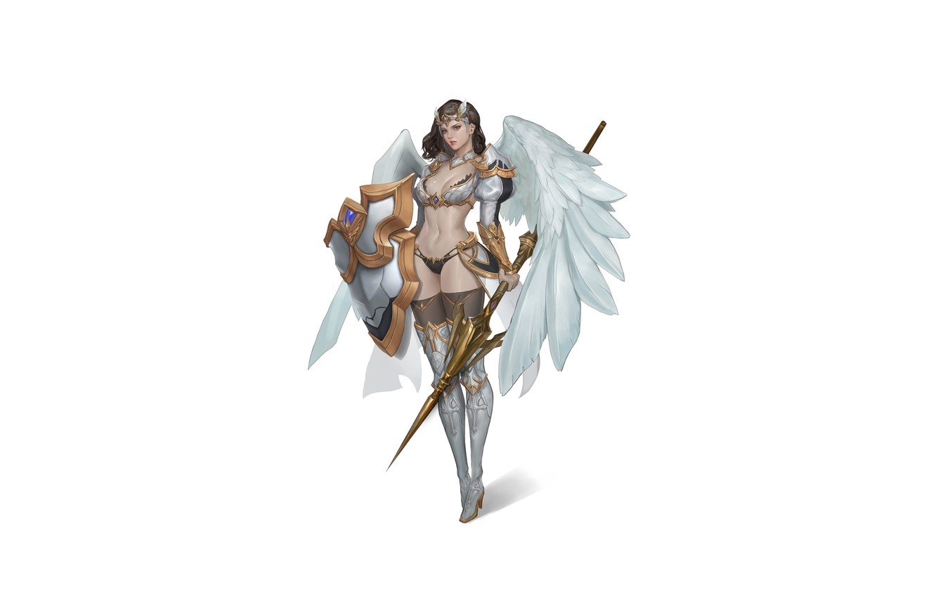 Photo wallpaper Girl, Fantasy, Art, Style, Fiction, Illustration, Minimalism, Shield, Wings, Valkyrie, Spear, Character, NamGyeong Lee