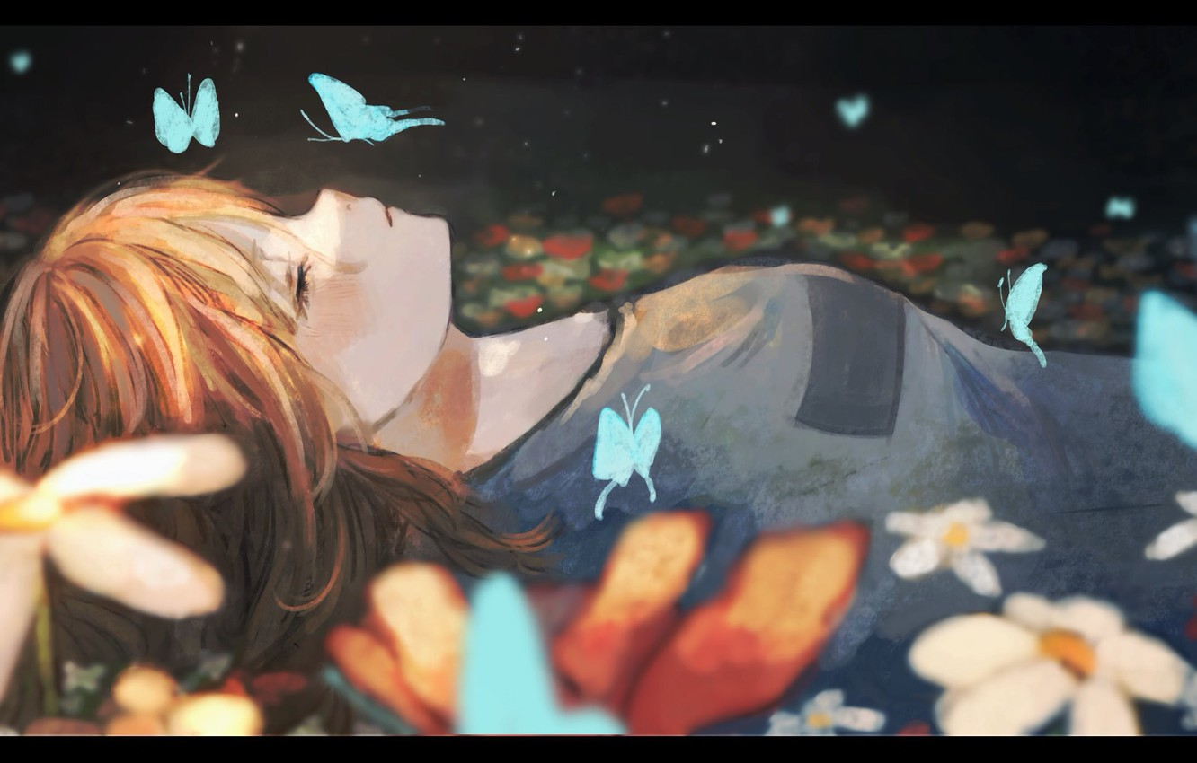 Photo wallpaper girl, butterfly, flowers, sleeping