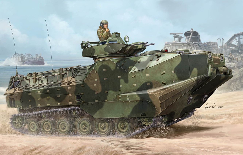 Photo wallpaper USA, Vincent Wai, amphibian, US NAVY, AAV-7, Amphibious Assault Vehicle, AAVP-7A1 RAM/RS