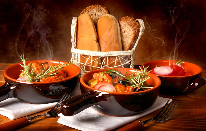 Photo wallpaper bread, sour cream, the second dish, borsch