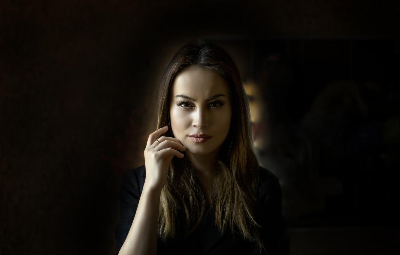 Photo wallpaper dark, girl, beautiful, look, glance, Kide FotoArt
