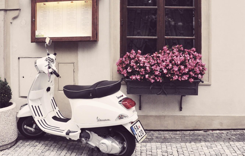 Photo wallpaper flowers, street, window, motorcycle, bridge, scooter, Vespa