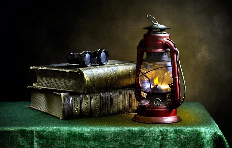 Photo wallpaper books, lamp, tablecloth