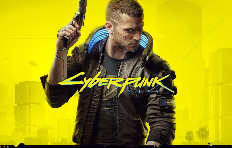 Photo wallpaper yellow, style, gun, weapons, haircut, jacket, cyberpunk, character, CD Projekt RED, Cyberpunk 2077