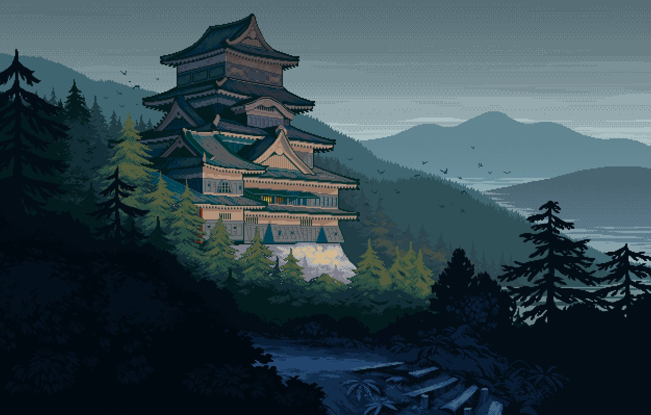 Photo wallpaper mountains, birds, river, castle, Japan, stage, the gray sky, feudal, spruce forest, wooded hills